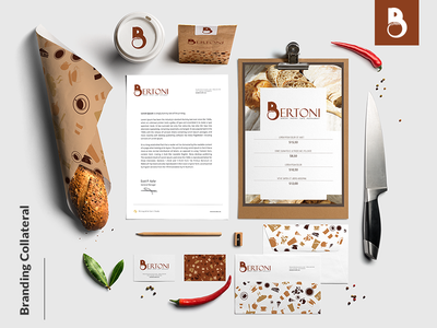 Bertoni Brand Business Collateral restaurant menu bakery logo business card letterhead branding logo logo design food logo brown logo pastry cafe envelope