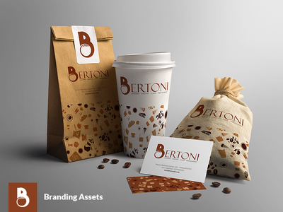 Bertoni Branding Assets visiting card cafe pastry coffee cup food logo logo design logo branding paper cup business card bakery logo bakery paper cover
