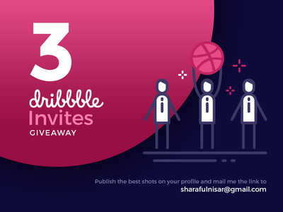 3 dribbble invites giveaway invite giveaway draft 3 invites design illustration invites dribbble invites giveaway invitation graphic art graphic design invite design icon design