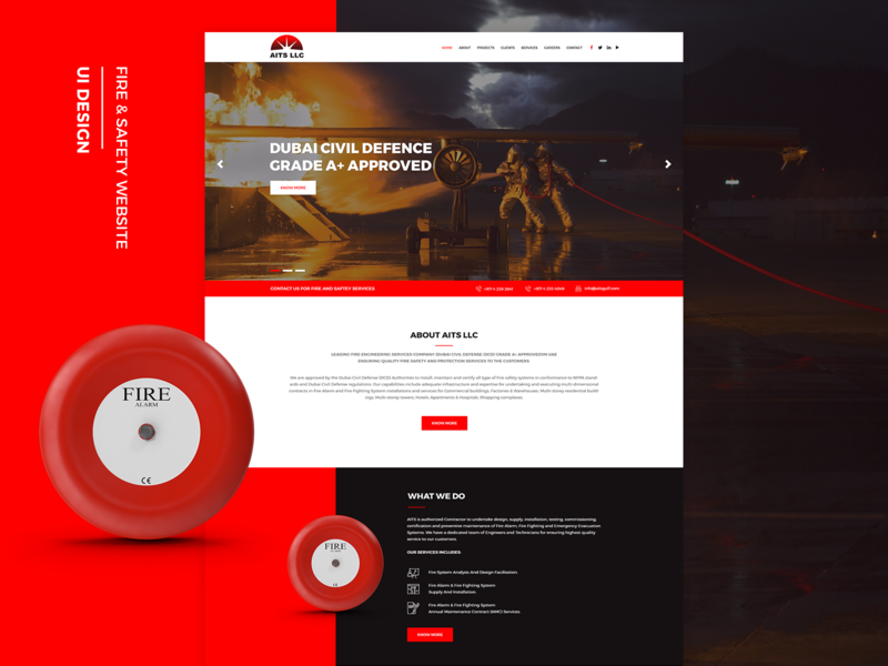 Aits Website Design red and black creative website website mockup modern website ux design mobile apps icon design website mobile website website design ui design web design full screen website fire engineering services fire and safety website fire and safety red website