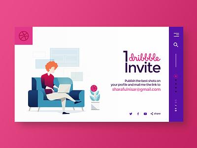 1 dribbble invite giveaway icon design invite design graphic design graphic art giveaway invitation dribbble invites invites illustration design 3 invites draft invite giveaway