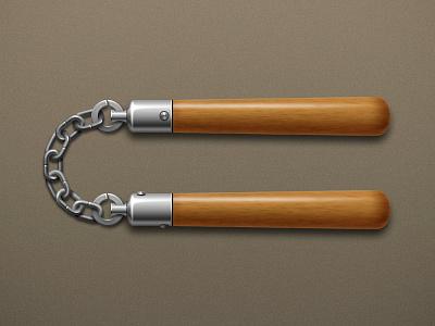 nunchakus icon weapon nunchakus wood stick metal chain