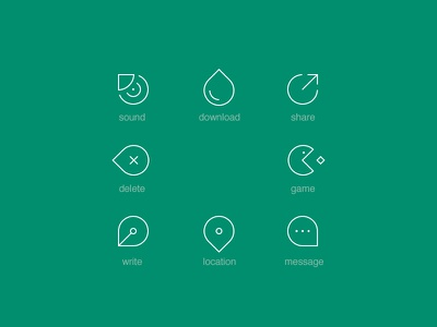 icons icon sound download share delete game write location message