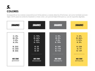 SHARKS - Brand Book Color Palette flat ui branding typography logo color palette brand book brand