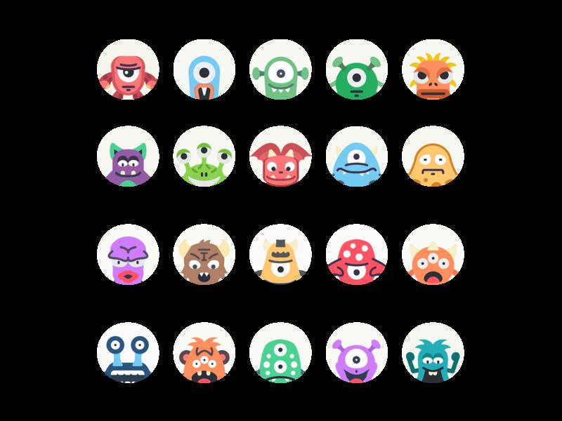 Monster Avatars illustration illustrator avatar icons flat icon flat icons flat avatar icons monster avatars avatars monster