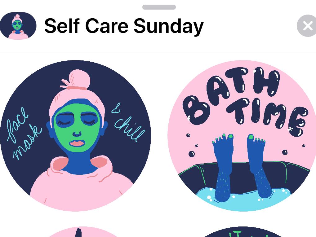 Self Care Sunday sticker app lifestyle self care app store app design colors drawing colorful app fun shapes flat color geometric illustration