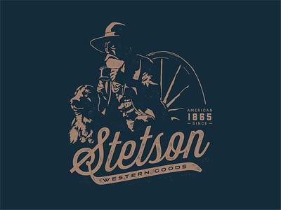 Stetson Badge 1800s animal dog coffee cowboy hat cowboy hat western badgedesign badge logo badge stetson