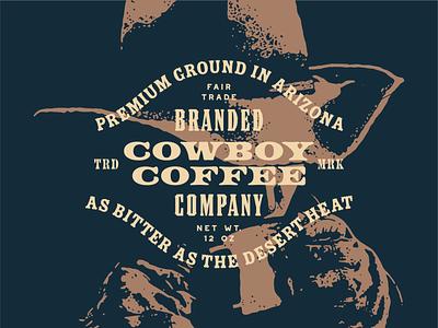 Cowboy Coffee grit western west packaging roaster cowboy hat typography lockup wordmark logo branding coffee cowboy