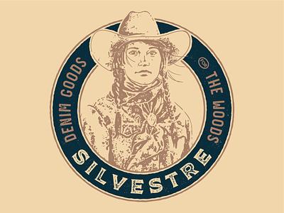 Silvestre Denim true grit texture supply grit emblem badge design badge logo cowboy hat cowgirl cowboy denim jacket denim
