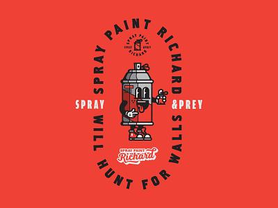Spray Paint Richard mascot logo mascot texture grit graffiti spray paint spray can type typography design retro logo illustration cartoon character