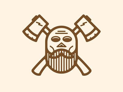 CHOPS Logo Mark character lightning crossbones logo badge ax beard skull