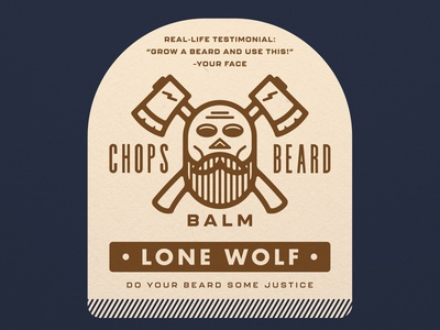 CHOPS Beard Balm - Lone Wolf branding crossbones character axes scent beard balm badge packaging label design label beard skull logo
