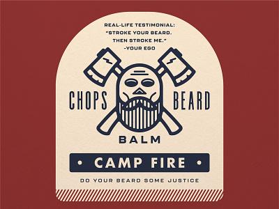 CHOPS Beard Balm - Camp Fire badge logo label design label packaging balm crossbones ax beard balm beard skull