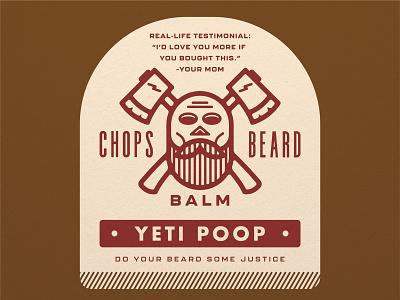 CHOPS Beard Balm - Yeti Poop ax brand logo packaging labe design label beard balm crossbones skull beard