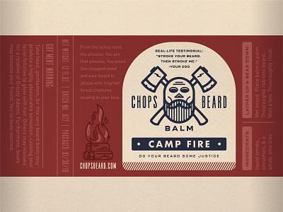 CHOPS Beard Balm - Camp Fire Label branding logo character camp fire fire skull axes beard balm beard packaging label design label