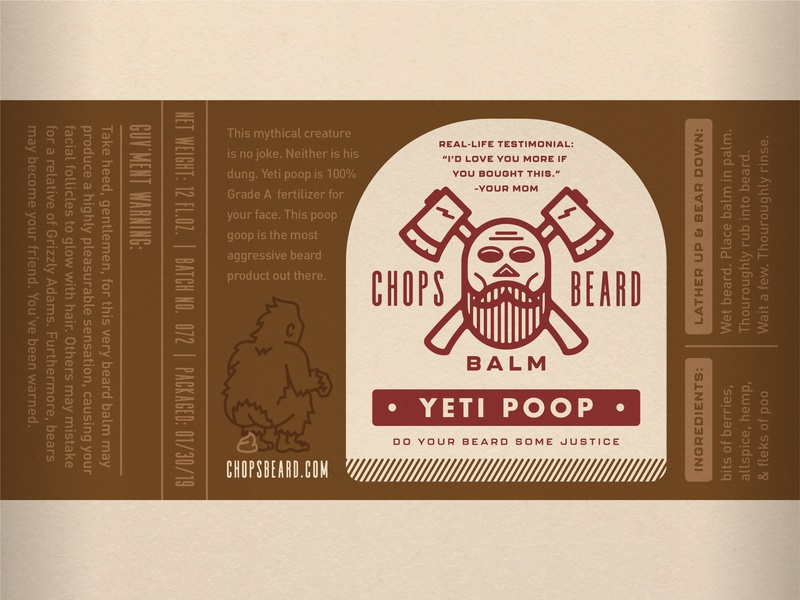 CHOPS Beard Balm - Yeti Poop Label branding logo packaging label design label poop yeti skull axes beard balm beard