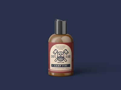 CHOPS Beard Balm - Camp Fire Bottle logo branding packaging label design label skull axes camp fire fire beard balm beard
