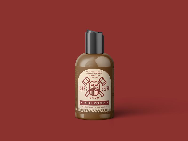 CHOPS Beard Balm - Yeti Poop Bottle poop yeti branding packaging logo skull axes beard balm beard