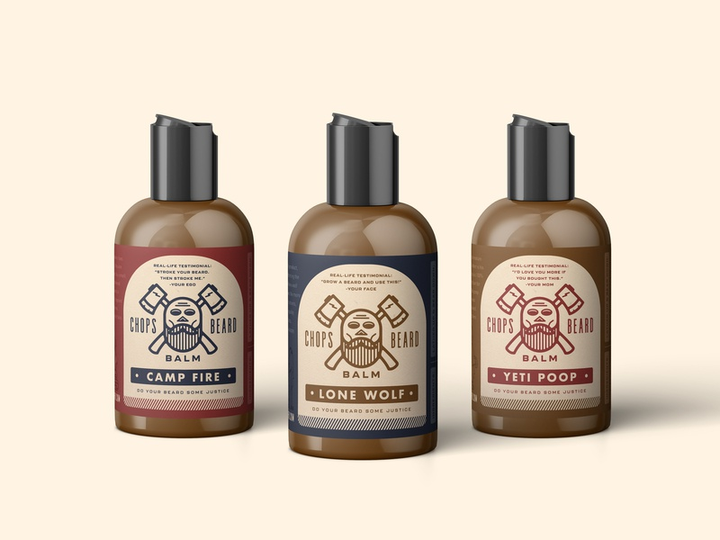 CHOPS Beard Balm - The Whole Fleet badge wolf poop fire axes skull label design label packaging branding logo beard balm beard