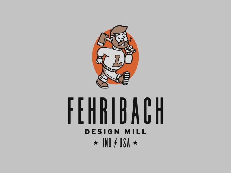 Fehribach Design Mill Logo badge label axes beard indiana cartoon character mill branding brand logo lumber ax