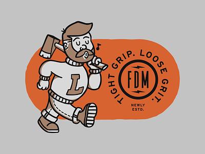 Fehribach Design Mill ax brand label design badge label axes illustration branding beard cartoon logo character