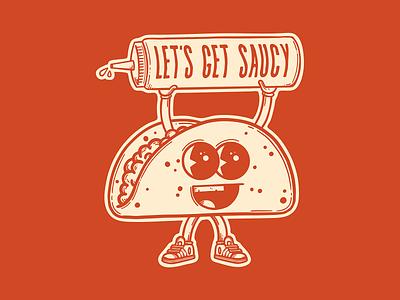 Saucy Taco mascot cartoon character saucy sauce taco