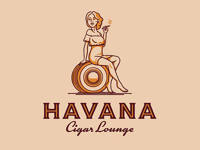 Havana Lady label tire classic car smoke woman lady cartoon character branding logo lounge cigar cuba havana