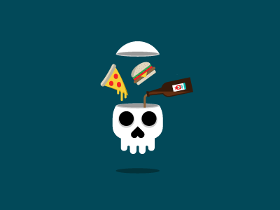 All the Amenities illustration skull pizza cheese burger beer