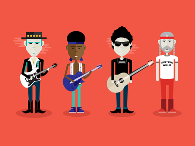 Legends illustration vector flat steve ray vaughan jimi hendrix bob dylan willie nelson