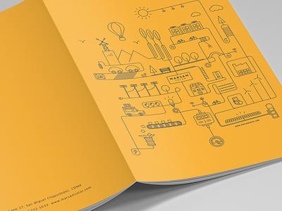 Marsam Solar Illustration city town vector stroke line art yellow energy solar line illustration cityscape brochure illustration