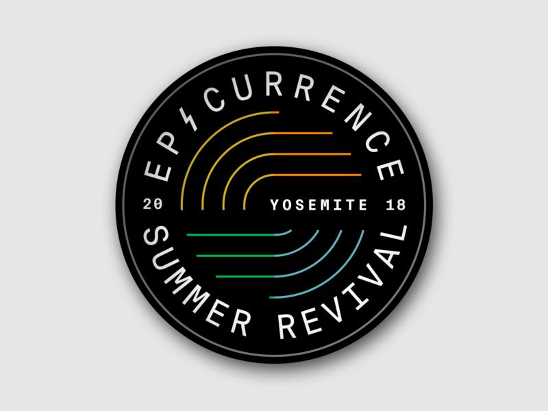 Epicurrence Summer Revival Badge epic process gif outdoor logo branding event branding yosemite revival summer epicurrence logo badge