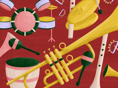 Jazz Orchestra Details orchestra musical instrument music vector art illustration green yellow editorial illustration digital illustration jazz