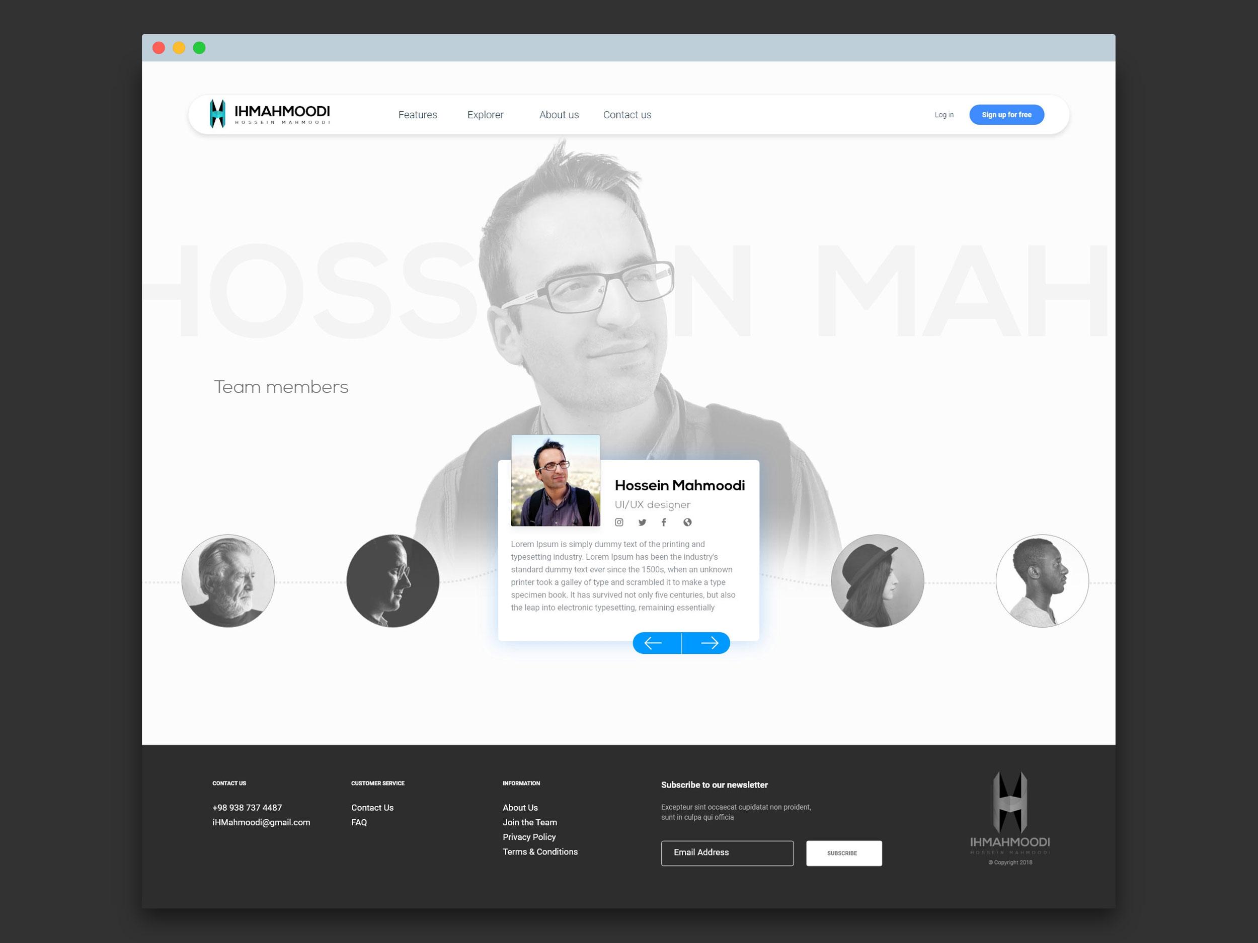 نمونه کار: رابط کاربری صفحه اعضای تیم - Team members page UI/UX