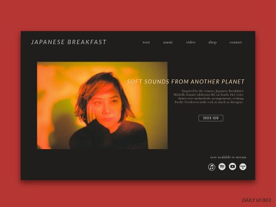 Daily UI Challenge #003 - Landing Page album landing page landing page typography dailyui 003 daily ui 003 soft sounds from another planet japanese breakfast web ui vector ux design dailyui