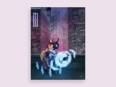 CyberGuen Cat Portrait commission cyberpunk cats poster art illustration