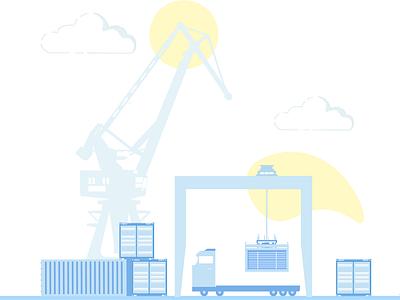 Drayage Illustration vector ux supplyanddesign load warehouse trucks truck logistics ui laptop computer business branding analytics los angeles dtla illustration design drayage