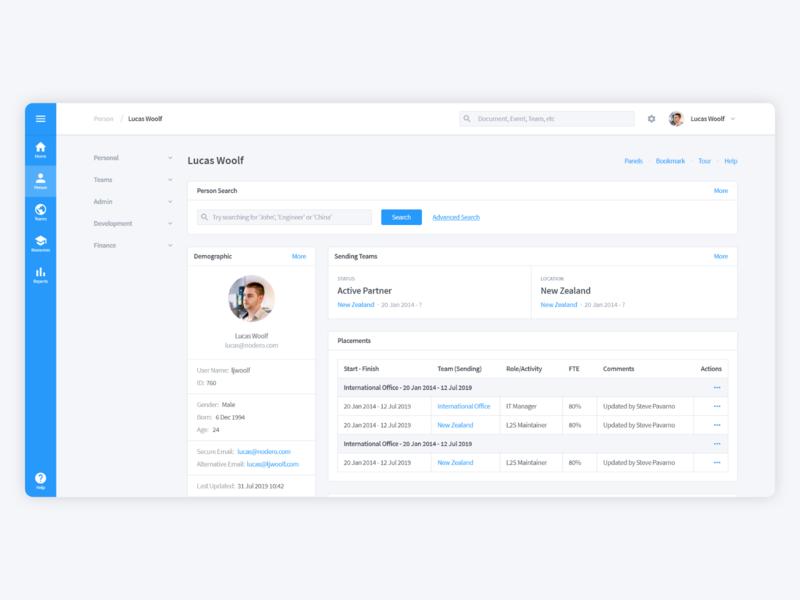 Enterprise Profile Dashboard product design profile dashboard tracking desktop blue enterprise web product page software ux ui app design
