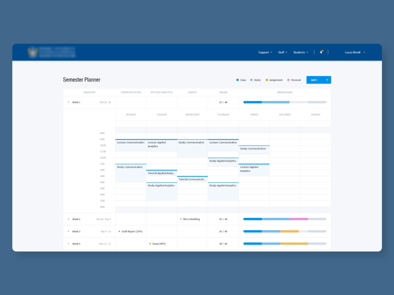 Semester Planner & Timetable week table schedule timetable planner semester blue enterprise minimal web product software ux ui app design