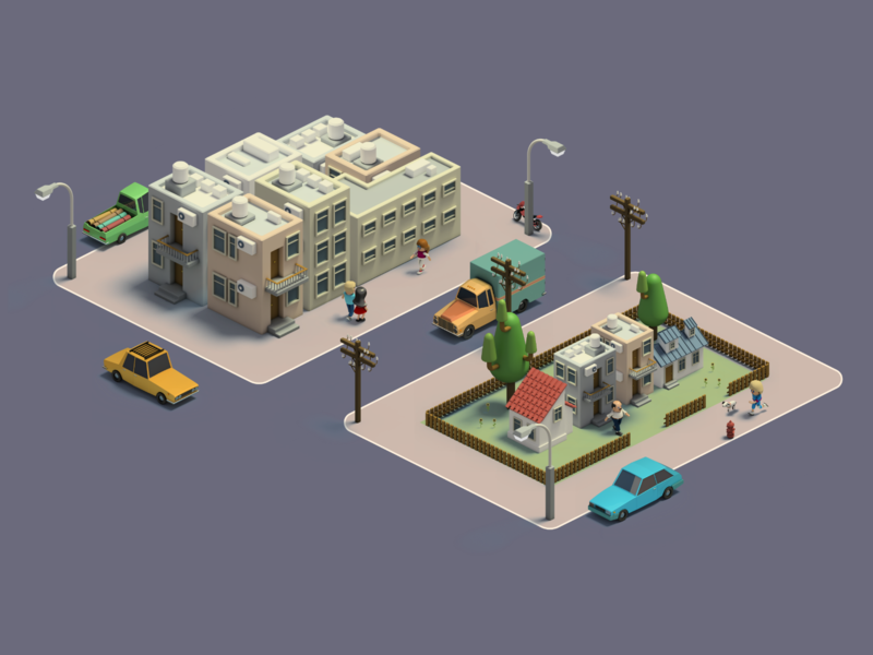 Isometric Suburb map low poly house building urban town city isometric art 3d