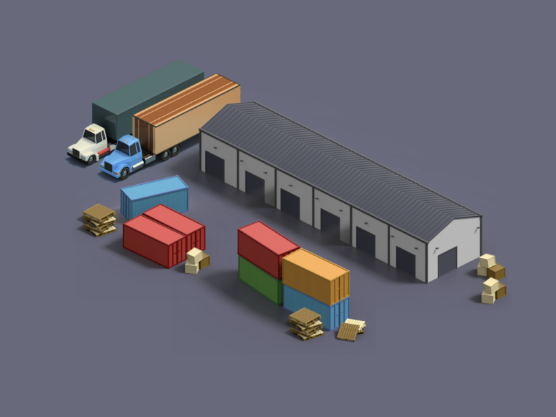 Isometric Freight Yard map low poly warehouse yard freight isometric art 3d