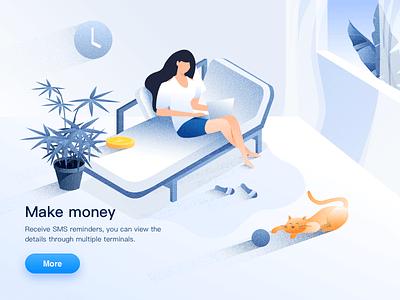Make Money potted plant girl financial gold cat people illustration