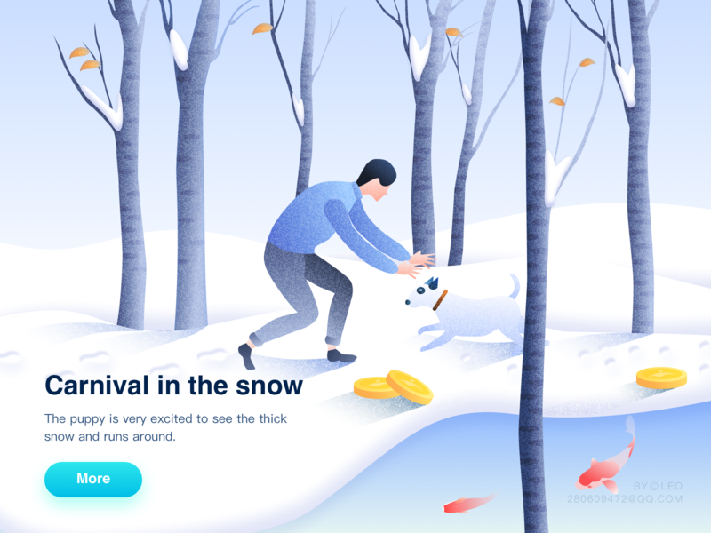 Carnival In The Snow peoples tree fish gold snow illustration