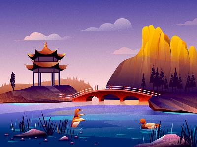Dusk bridge tree pavilion lake illustration