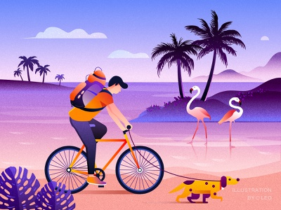Riding boy bicycle bird tree dog illustration