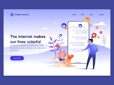 The Internet Makes Our Lives Colorful dog boy illustration