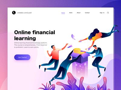 Online financial learning mountain gold financial boy illustration