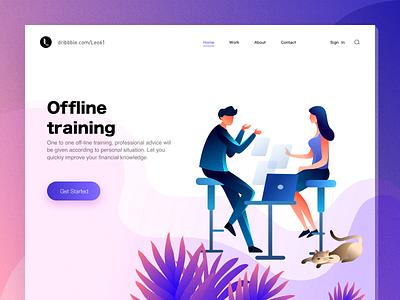 Offline training financial girl boy illustration