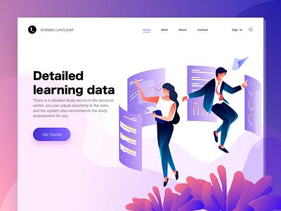 Detailed learning data financial girl boy illustration