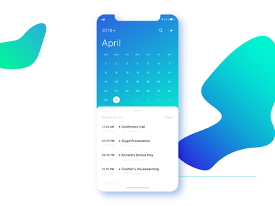 Scheduler free freebie download rajat mehra experience design motivation ui ux india soft hues blues scheduling calendar appointments apple fluid design iphone x mockup