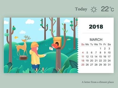 A letter from a distant place tree birdie elk spring forest calendar illustration